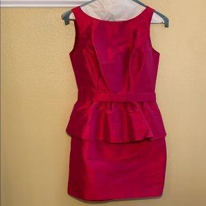 Fuchsia Peplum belted dress